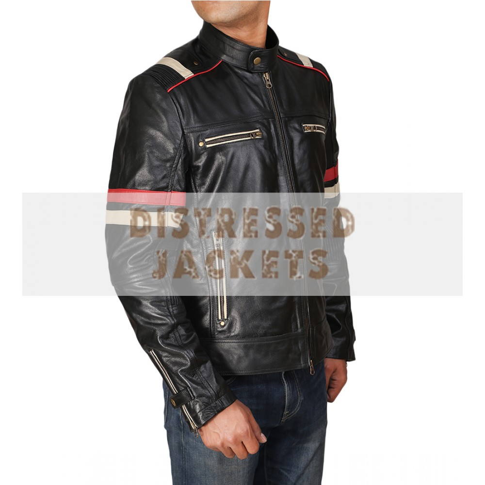 Retro Cafe Racer Classic Motorcycle Red Stripe Biker Leather Jacket