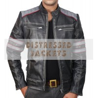 Retro Cafe Racer Classic Motorcycle Jacket | Double Stripe Black Leather Jacket