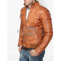 Bareskin Tan Brown Biker Leather Jacket
