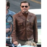 Leonardo DiCaprio Once Upon a Time in Hollywood Rick Dalton Brown Leather Jacket
