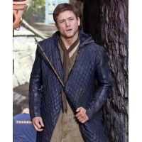 Robin Hood Taron Egerton Quilted Hoodie Black Leather Coat