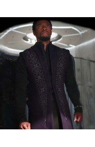 T'Challa Avengers Infinity War Black Panther Navy Blue Wool Trench Coat