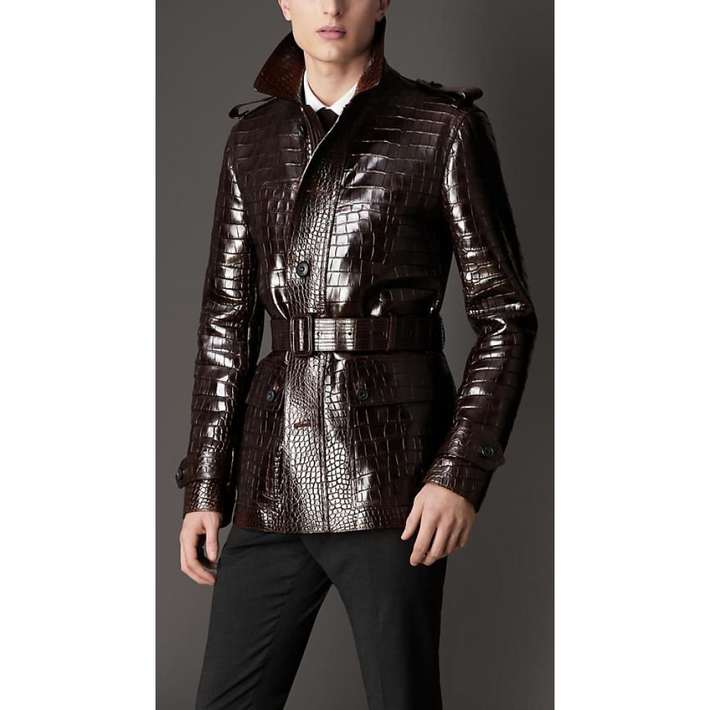 Chocolate Belted Alligator Skin Leather Men's Coat For Sale | Leather Jackets