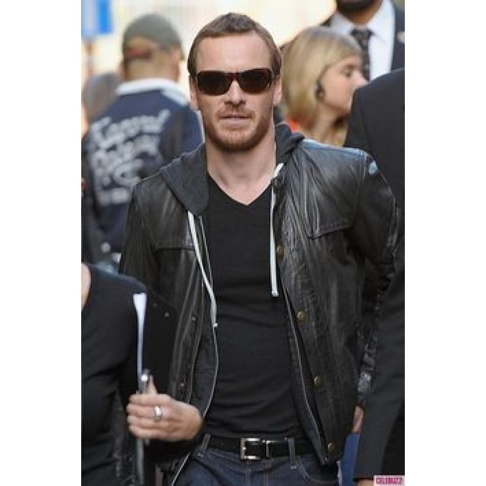 Michael Fassbender Hooded Leather Jacket | Black Jackets