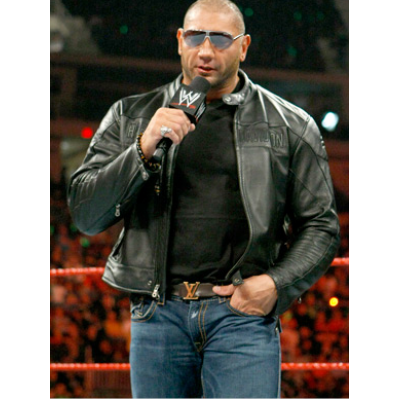 Dave Bautista Leather Jacket For Sale | Wrestler Black Jackets