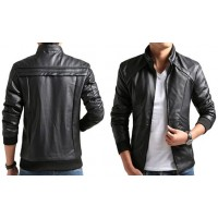 Men's Black Slim Fit Varsity Style Leather Jacket For Sale