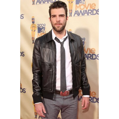 Zachary Quinto Varsity Style Leather Jackets | Celeb Black Jackets