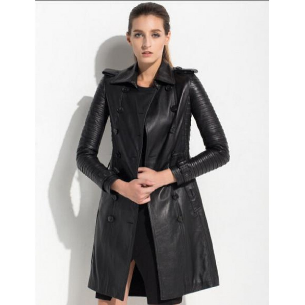 Black Women's Leather Trench Coat | Women Black Long Coat