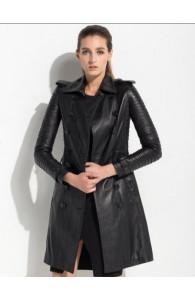 Black Women's Leather Trench Coat   Women Black Long Coat
