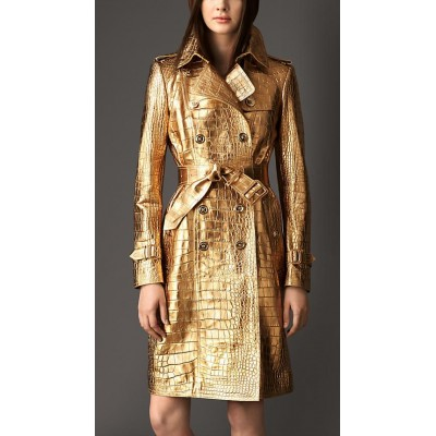 Metallic Alligator Leather Trench Coat | Women's Coat