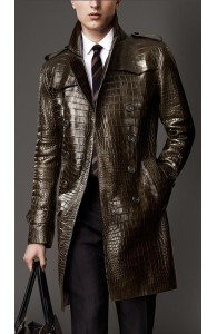 Alligator Skin Leather Men's Trench Coat For Sale | Leather Jackets