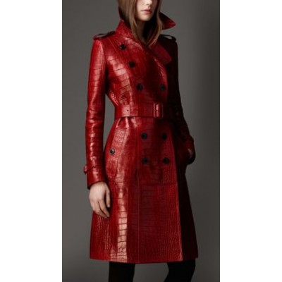 Long Alligator Leather Trench Coat For Sale | Women's Hot Coat