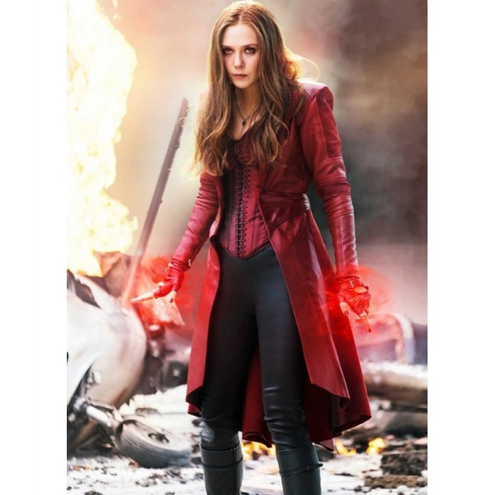d2bdb71b746 Buy Captain America Civil War Scarlet Witch Leather Trench Coat ...