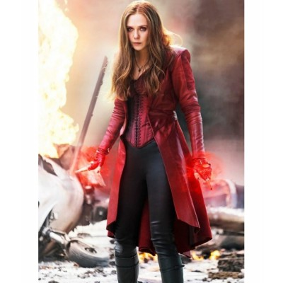 Captain America Scarlet Witch Long Maroon Coat | Women Long Coats