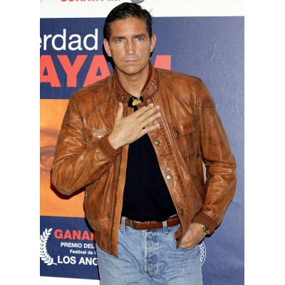 Jim Caviezel Brown Leather Jacket | Celebrities Brown Jackets